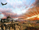 Eagle Soaring at sunset with motorcycle background paper